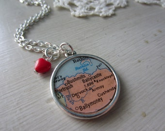 Long Distance Love Reversible Vintage Map Necklace