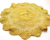 """SUMMER SALE Vintage Large Crotcheted Yellow Doily 17"""" Diameter"""