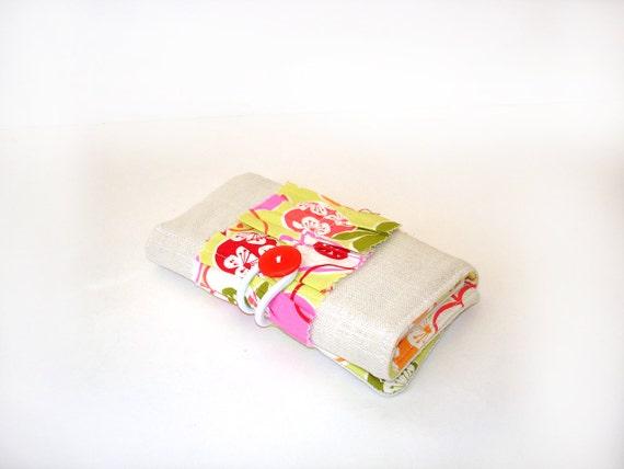 Coupon shopping organizer task list making mini notebook holder tri fold cotton linen