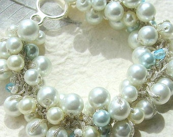 Robin's Egg Cyan Sky Blue Wedding  Bracelet, Bridal Party,Pearl Crystal, Hand Knit Fiber Art Spiral Cluster Twist, Artisan Sereba  Design