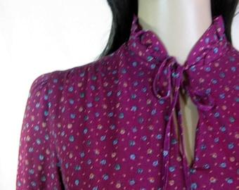 70's Handmade BURGUNDY FLORAL DRESS Size M