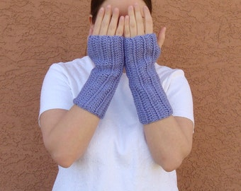 Lavender Blue Fingerless Gloves for Women - Light Purple Wrist Warmers, Arm Warmers, Fingerless Mittens from Hoooked MADE TO ORDER
