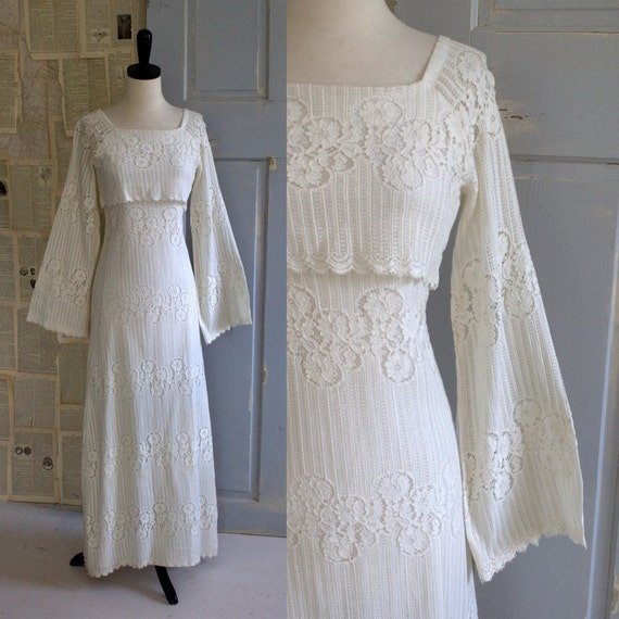 Vintage 1970s wedding dress 70s lace hippie off white cotton for 1970 s style wedding dresses