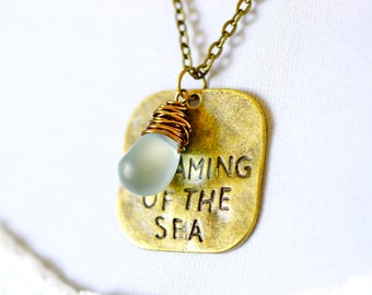 Dreaming of the Sea Necklace, Dog Tag Necklace, Stamped Charm Necklace, Aqua Jewel Square Charm Necklace, Nautical Inspired Ocean Jewelry