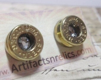 9mm Bullet Earrings w crystal Bullet Shell Surgical Steel Post Earrings