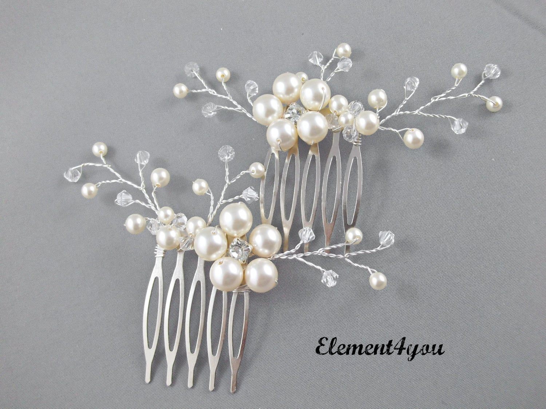 Bridal Comb Wedding Hair Comb Set Of 2 Ivory Pearls Hair