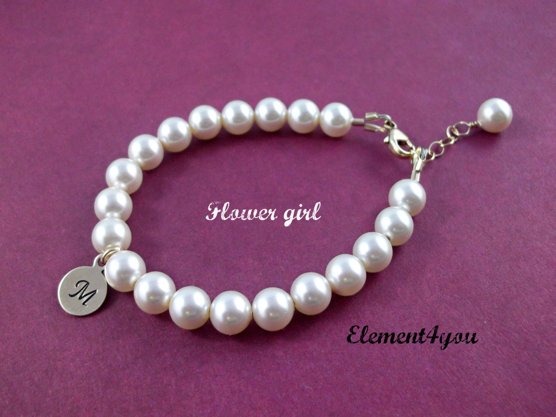 flower bracelet initial gold charm bracelet by