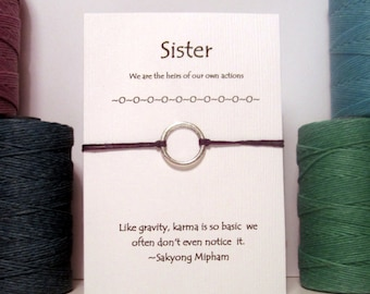 Silver or Gold Karma Wish Bracelet For your Sister