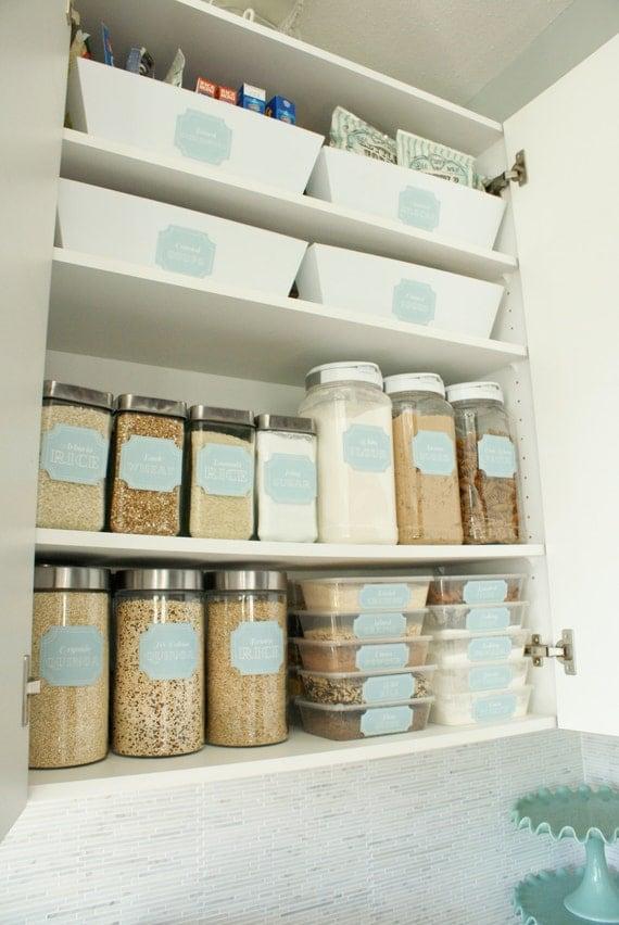 48 Printable Pantry Labels: Stella Vintage Blue Collection