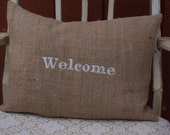 Welcome Burlap Pillow Cover