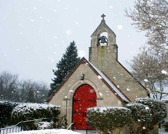 Little Red Door Church in the Snowy Winter Woods Snow Flakes Snowfall Charming Wedding Chapel Christian Architecture Photography Photo Print