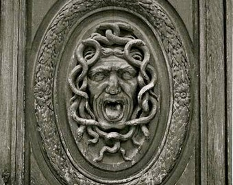 Medusa Face Carved into Old Door in the Marais District of Paris Fine Art Photography Black and White Photo Print