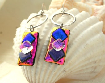 Dichroic Pink Purple Blue Dichroic Fused Glass and Silver Circle Dangle Earrings, Fused Glass Earrings, Dichroic Dangles
