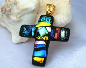 Dichroic Fused Glass Cross Pendant Mosaic, Mosaic Cross, Cross Jewelry, Dichroic Cross, Mosaic Jewelry,