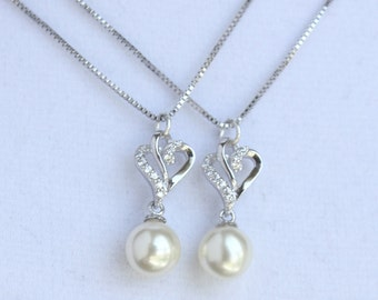 2 bridesmaids necklace sterling silver with Micro Pave crystals - GORGEOUS - EM1001