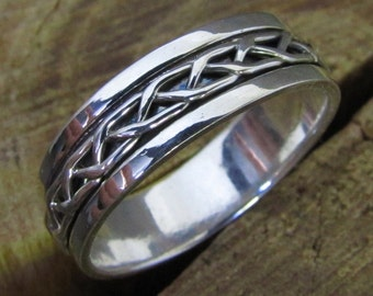 Braided Spinner Argentium Sterling Sterling Silver Band Ring