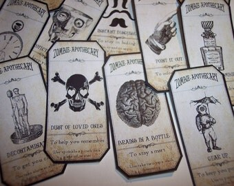 Zombie Apothecary Steampunk Labels Set of 15