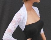 Shrug / White Lace Shrug / Lace Shrug / Bolero / Wedding Bolero / Wedding Shrug / Bridal Accessories / Wedding Jacket