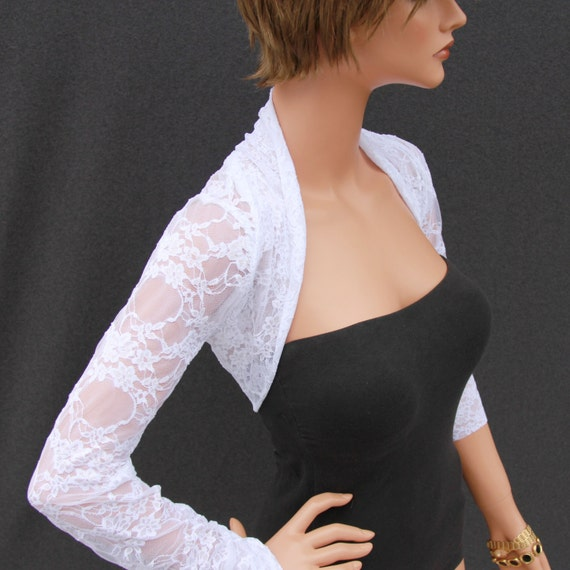 Shrug white lace shrug lace shrug bolero wedding for Wedding dress boleros and shrugs