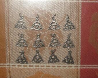 Wholesale Lot of 12 Irish Silver Tone Celtic Knot Triquetra Pendants