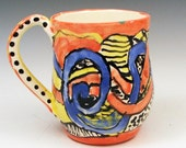 Zentangle Brightly Colored Handmade Mug in Red, Blue and Yellow - One of a kind handmade