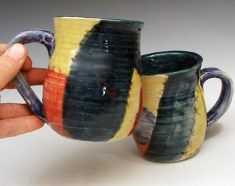 SALE: Set of Mugs - Bright Watercolor Crazy Quilt Primary Colors