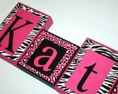 LARGE BLOCKS-Katie Collection Personalized Blocks -Zebra, and Leopard Print with Hot Pink Name Blocks -Price per letter