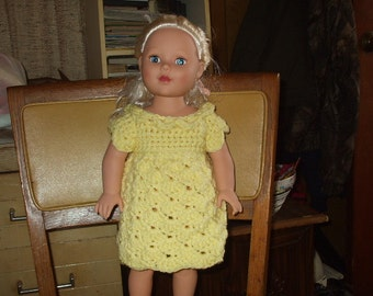 yellow crocheted dress for 18 inch doll