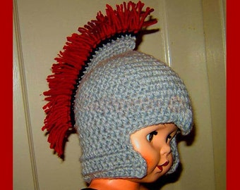 Roman Soldier Helmet with Plume, Baby-Adult  INSTANT DOWNLOAD Crochet Pattern