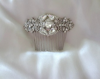 Vintage Inspired Bridal Crystal Hair Comb Brooch