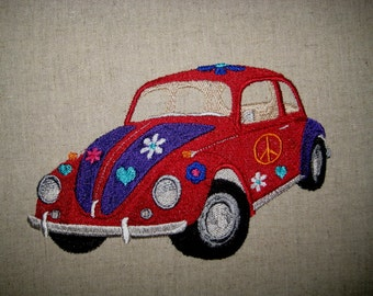 1967 Volkswagen Beetle  Embroidered Quilt Block