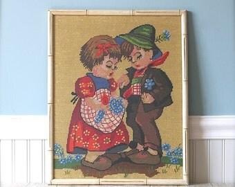 Vintage Needlepoint, Framed Dutch Boy And Girl Cottage Folk Nursery Decor
