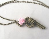 Guns and Roses Brass Gun Necklace with Rose Flower, Rose Necklace, Choose Your Colour