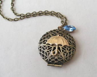 Umbrella Locket Necklace, Rain Necklace, Filigree Round Locket, Raindrop Necklace