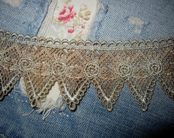 Hand Dyed Venise Lace  -Emma's Rose-  Distressed Blue Mocha
