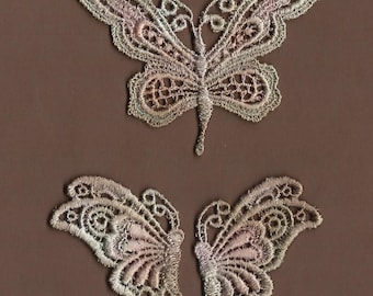 Hand Dyed Venise Lace Appliques Butterflies   Vintage Sea Blush