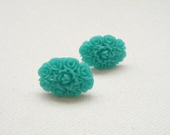 ns-Teal Oval Flower Bouquet Stud Earrings