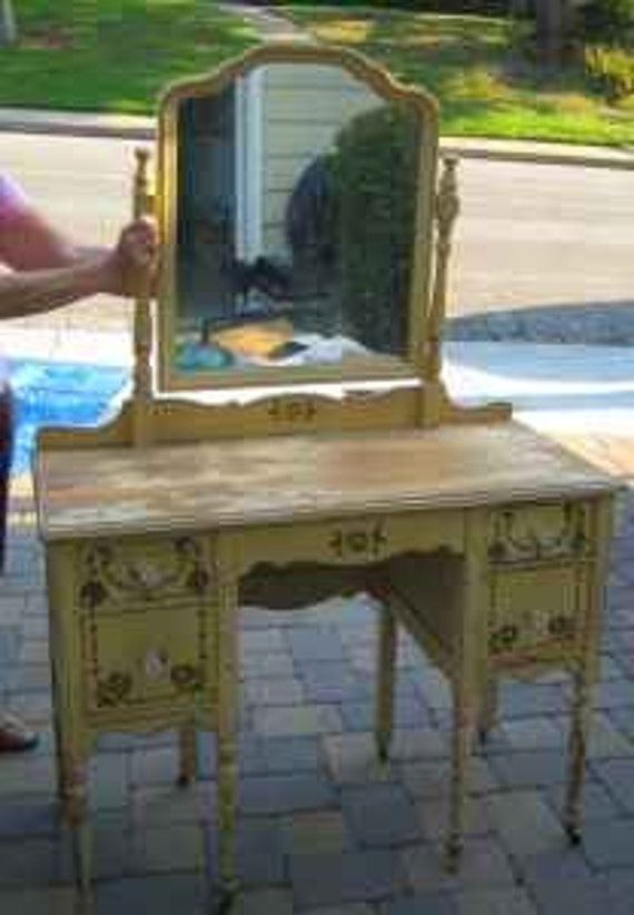 Antique Vanity- Shabby Chic yellow- mirror, wooden wheels, glass knobs