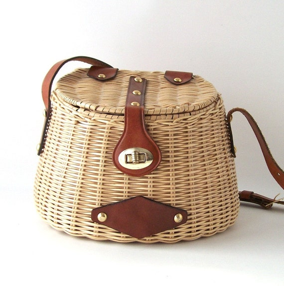 Reserved for j vintage fishing creel purse basket rattan brown for Fishing creel basket