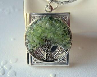 Tree Locket, Book Locket, Silver Square Locket, Locket Jewelry, Stained Glass Locket