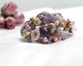 Shabby Chic Bracelet Macramé Amethyst Fluorite Lavender Lilac Wearable Fiber Art Jewelry Freeform Violet February Birthstone Mother's day
