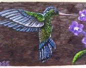 Hummingbird on Reclaimed Wood Fence Board Plaque Hand Painted Green