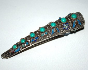 Chinese silver filigree brooch set with turquoise and enamels
