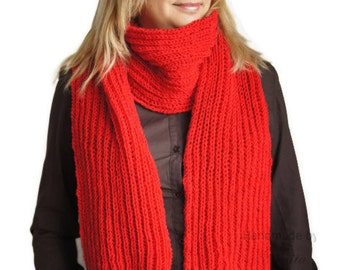 Knit scarf in red , Winter knit red scarf. Handmadered  scarf. Women scarf, Men scarf, Unisex