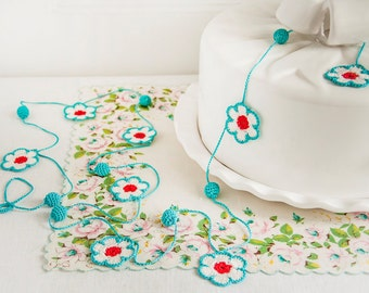 Bright kitchen floral crochet garland by bobbilewin on etsy for Arland decoration