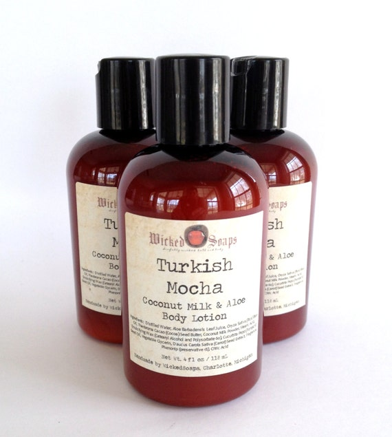 Turkish Mocha Body Lotion - Coconut Milk and Aloe Body Lotion with Cocoa Butter and Pumpkin Seed Oil - Vegan Friendly