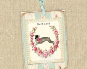 Instant Download no.572 Printable Bunny Tags Antique Wallpaper Collage Sheet Tattered Vintage 572
