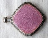 Antique Pink Guilloché Perfume Bottle Sterling Silver