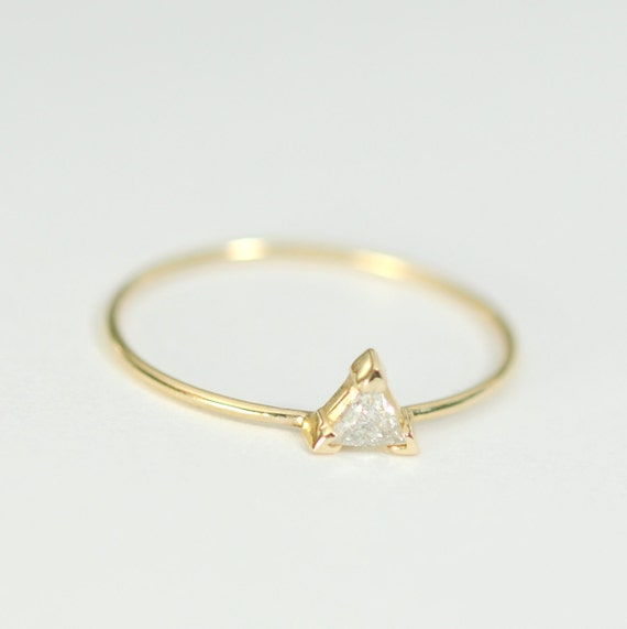 Diamond Engagement Ring .09 Carat Triangle Diamond 3mm with Yellow Gold  Conflict Free