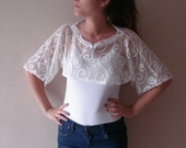 White Lace crop top Ivory sweater bridal accessory cropped top lace top, wedding boho sheer top Sale 2016